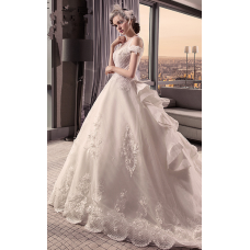 Ball Gown Illusion Neck Court Train Beaded Lace Made-To-Measure Wedding Dresses with Crystals / Criss-Cross
