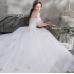 A-line  bride's court bra, tail wedding dress.