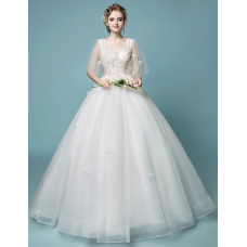 A-line  V collar princess dream wedding dress