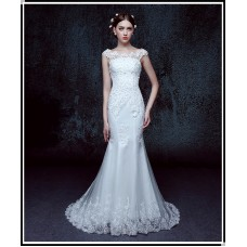 A -Line  fish tail European style court slim wedding dress