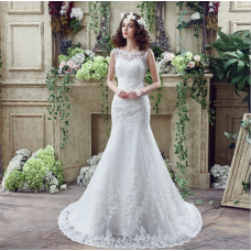 One shoulder, sexy lace, fish tail wedding dress